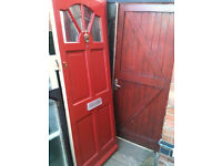 Exterior wooden door with frosted glass