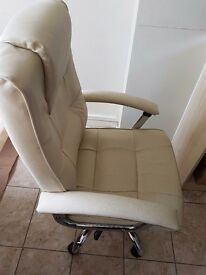 cream faux leather chair