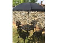 Cast Garden Table, 4 Chairs and Parasol