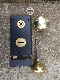 Victorian black door rim lock set with solid brass door knobs
