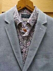 Light blue fitted jacket teamed with fitted ditsy shirt perfect for special occasion