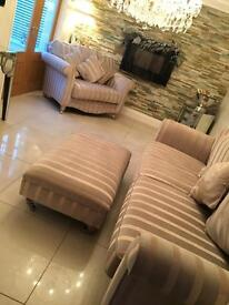 3 part sofa for sale. 3 seater, love chair and a footstool.