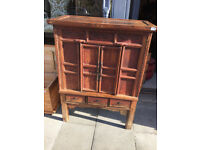 Large Chinese Chest - Free Local Delivery. Chest has a distressed painted finish , with 2 cupboards