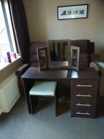 Dark brown Dressing table with cream stool and brown mirror