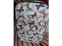 Large butterfly fabric luggage suitcase