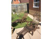 Two garden steamer chairs