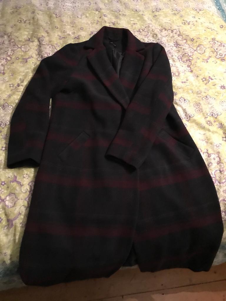 Navy checkered coat ladies size 16