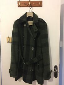 Burberry Green Large Check Print Wool Coat size S UK 8