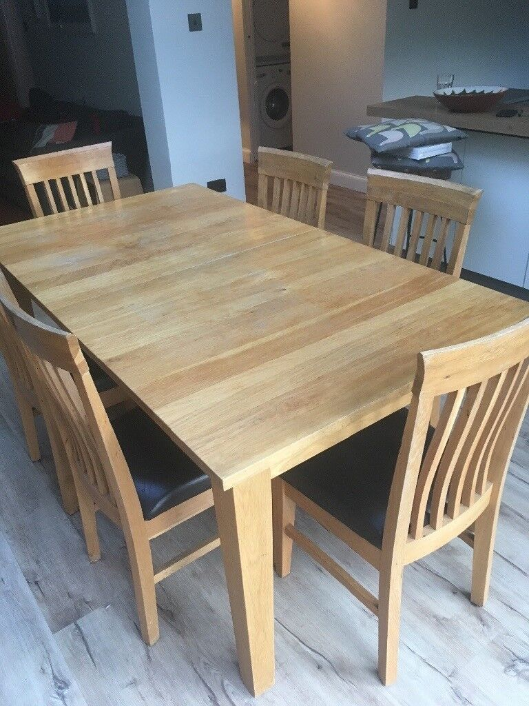 Extendable Light Oak Dining Table Matching Sideboard Also
