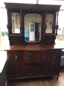 Mahogany mirrored back sideboard