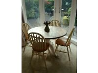 Shabby Chic Circular Table & 4x Chairs