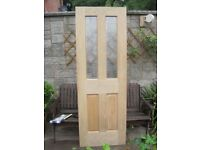 "As new Wickes Chobham Oak veneer part glazed internal wood door 78"" x 27"""