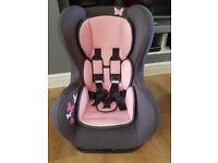 Comfort plus car seat in pink butterfly