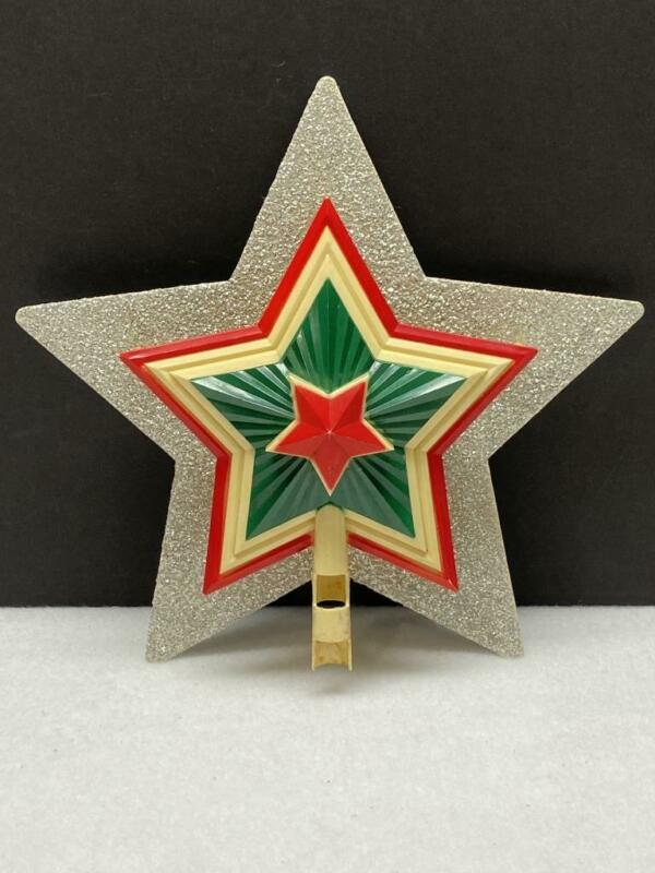 Vintage Christmas Tree STAR Tree Topper Colorful Celluloid, 3D Antique