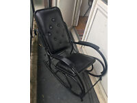 Black rocking chair (metal and leather)