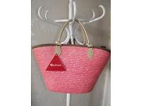 BNWT Large Pink Straw Shopper Bag by Kaufmann