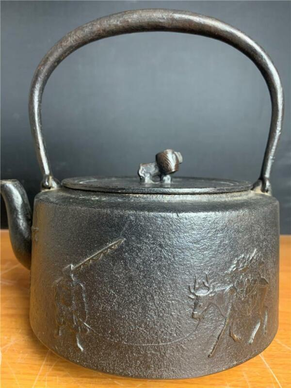 Magnificent & Highly Detailed Japanese Tetsubin Cast Iron Teapot Marked