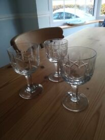 Lead Crystal Cut Glass Wine Goblets