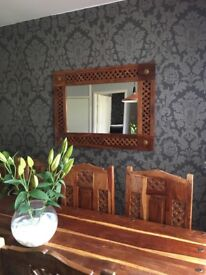 Sheesham wood table bookcase sideboard and mirror