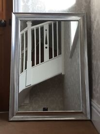 Silver mirror- wooden frame with metallic coating