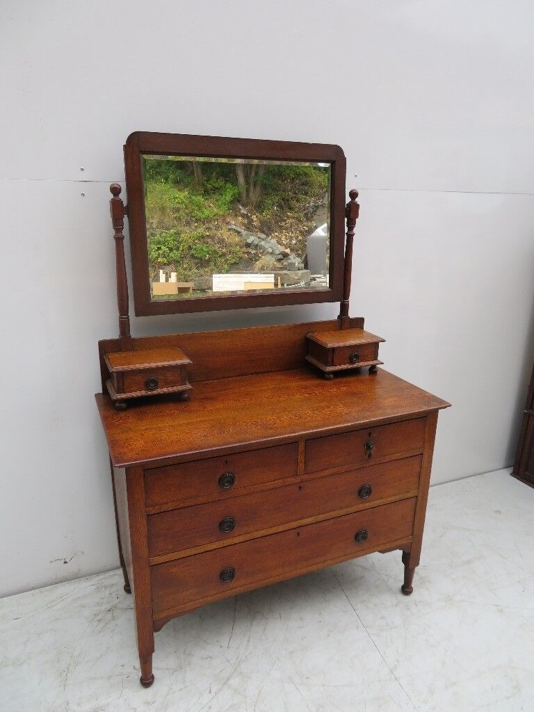 Solid Oak Dressing Table With Mirror 1920 S 1930 Good Condition