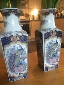 Chinese style peacock pair of vases