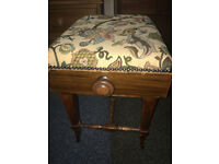 Very Nice Antique Newly Upholstered Victorian Piano Stool with Adjustable Seat