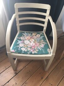 Cream vintage look chair with floral fabric seat shabby chic