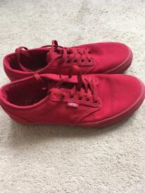 Red Vans Trainers size 6