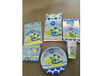 Baby first 1st Birthday party plates bags cups