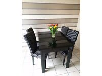 Black Glass Extendable Dining Table & Chairs - ALMOST NEW - UNUSED CONDITION!!!