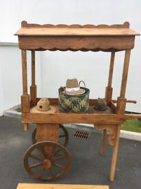 Handmade solid wooden cart, excellent quality. Great for displays , fetes, markets.
