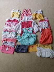 Large bundle of toddler girl's summer clothes 12-18 months