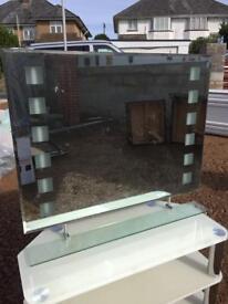 Big glass light up mirror