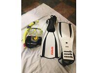 2 x Scuba diving - fins, masks & snorkels