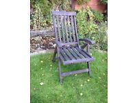 Large low Wooden garden reclining chair