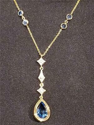 NewBlue Topaz and Genuine Diamond 14K Yellow Gold Drop Necklace - Great Gift ()