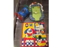 Baby bundle playmats, rattle toy, chicco ergo gym activity music 4 in 1