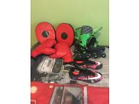 Boxing gloves and pads / Nike CR7 football boots size 3 and roller blades size 3
