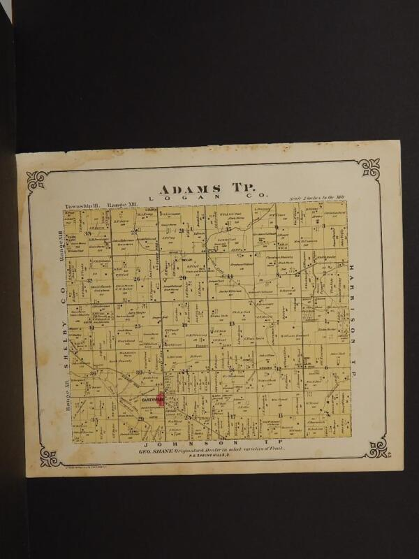 Ohio Champaign County Map Adams Township  1874 Double Side  Q4#36