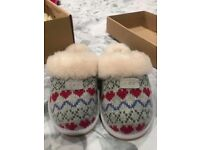 Ugg slippers - grey with heart pattern