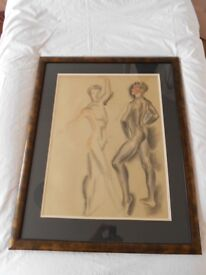 Painting of Ballet Dancers in Graceful Pose