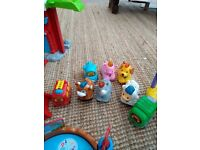 Toot toot bundle- dog playhouse, zoo, fire station. 8 vehicles/animals !