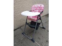 Girls pink/white high chair