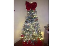 Pre lit christmas tree 6ft , bead and crystal snowflake and light up winter scene