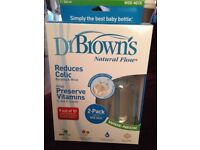New twin pack Dr Brown's natural flow anti-colic bottles
