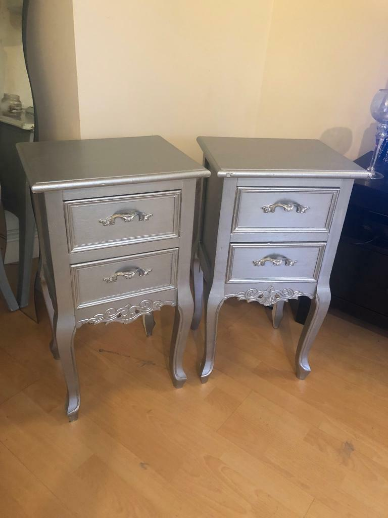Pair Of Matching Shabby Chic French Style Bedside Cabinets Drawers Tables