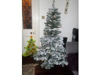 6ft 1.8m Prelit LED Christmas Tree Flocked Boxed