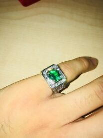 *SOLD* Men's Plated Signet ring with gemstone