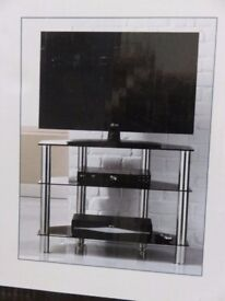 """TV stand new in box chrome and glass 32"""""""